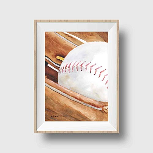 Baseball Art Print | Sports Wall Decor for Boys Room | 8.5 x 11 Inch Gallery Quality Fine Art Giclee Print ()