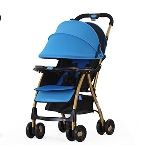 Newborn Baby Foldable Lightweight Stroller,Anti-shock High View Carriage,Adjustable Pushchair Pram with Storage Basket for 7-36 Months(Blue)