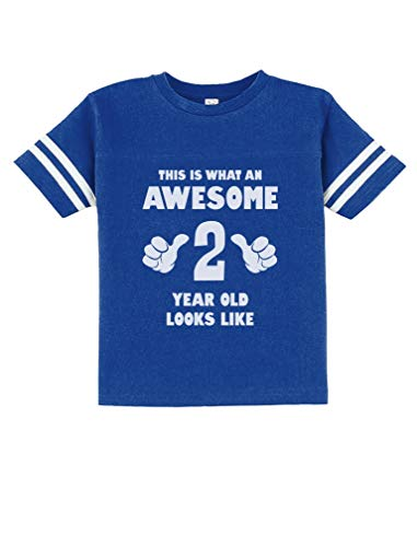 This is What an Awesome 2 Year Old Looks Like Funny Toddler Jersey T-Shirt 2T Blue