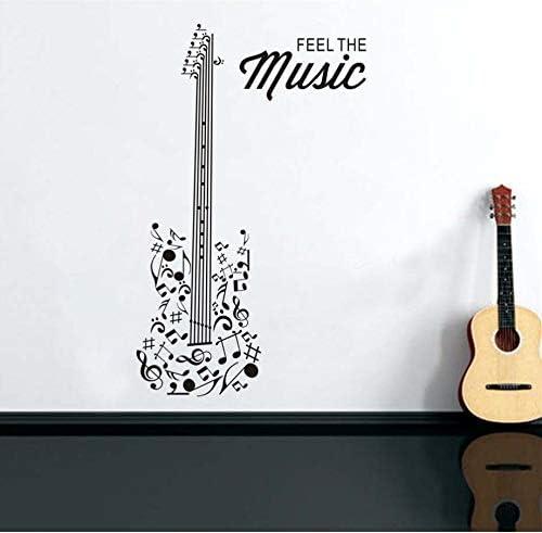 xlei Etiqueta De La Pared Sienta La Música Guitarra Silueta ...