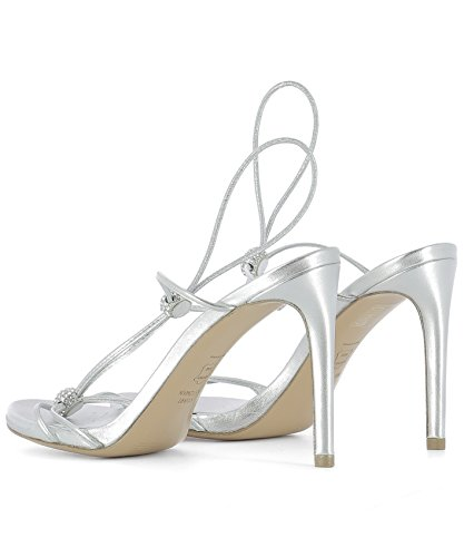 Stuart Weitzman Women's TRIXIESUPPLEKIDSILVER Silver Leather Sandals discount countdown package sF8Ly
