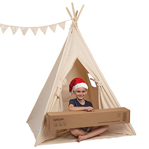 (Teepee Tent for Kids - Deluxe 100% Cotton Canvas + Bonus Fun Flags! Tough & Built to Last. Perfect for Boys or Girls, Large Play Tent Fits 2 Children. Indian Wigwam Tipi for Indoor or Outdoors)