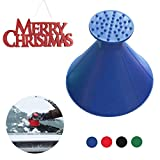 Magic Scrape A Round Ice Scraper Car Windshield Snow Scraper Cone Shaped Windshield Snow Funnel Shovel Tool Will Scrape Pesky Frost and Ice from Windscreens and Side Windows with Ease (Blue)