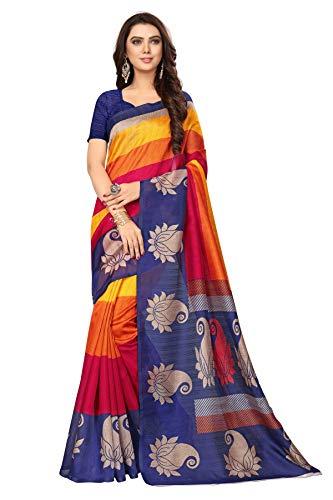 CRAFTSTRIBE Printed New Saree Party Wear Bhagalpuri Silk Ethnic Wedding Bollywood Sari