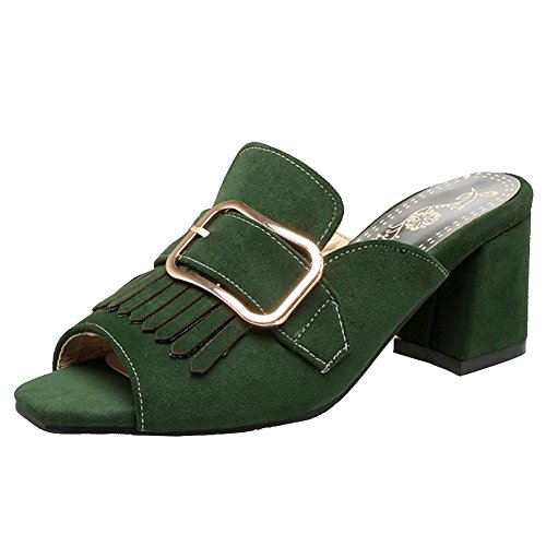 Dark Femmes Enfiler Coolcept Mode Sandales à Frange Green Mules 7ww0zqx