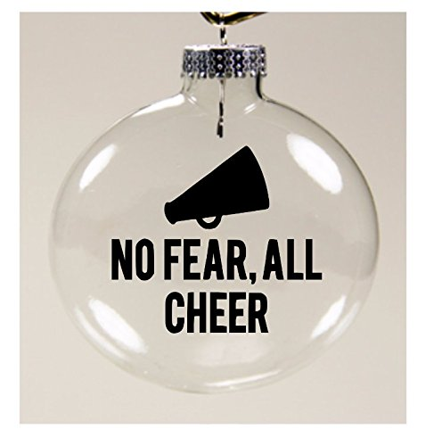 Jenuine Crafts No Fear, All Cheer Cheerleader Dance Christmas Ornament Glass Disc