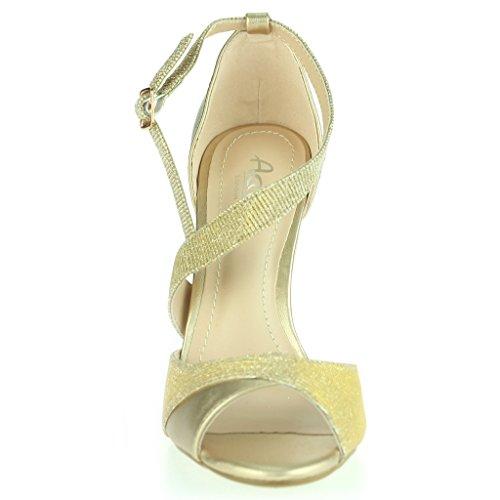 Mujer Señoras Trémulo Punta Abierta Correa lateral Tacon Alto Stilettos Noche Fiesta Boda Prom Nupcial Sandalias Zapatos Tamaño Oro