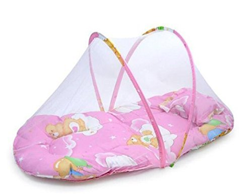 - LOHOME Small-Size Baby Mosquito Net Crib, Instant Pop up Baby Tent Kids Infant Nursery Bed Crib Canopy Mosquito Net Netting Play Tent Beach Play Tent, Bed Playpen (Pink.)