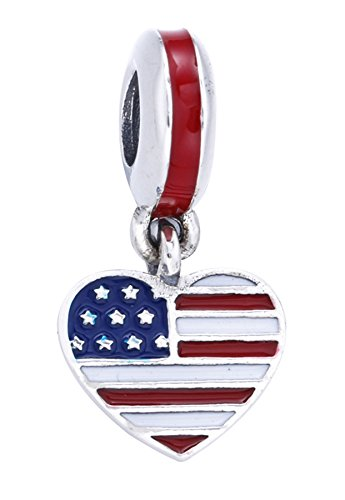 Best Wing Charms USA American Flag on Heart Charm Bead ()