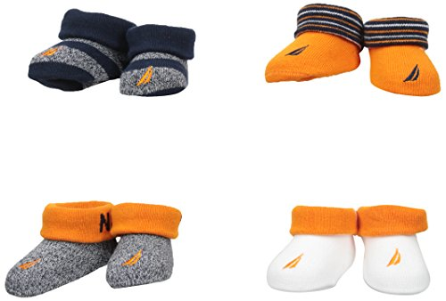Nautica Baby Boys' 4 Pack Assorted Booties, Multi, 0-6 Months