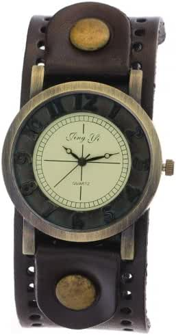 Brown Leather band With Holes Brand New Fashion Vintage Quartz Watch With A Wide Belt