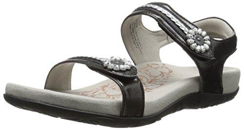 Aetrex Womens Daria Quarter Strap Sandal Black