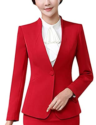 MFrannie Women Curved V Neck Long Sleeve Suit Jacket and Skirt 2 Pieces