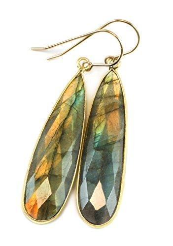 14k Gold Filled Labradorite Earrings Goldtone Bezel Set Blue Flash Faceted Large Long Drops 2 Inches Labradorite Blue Flash