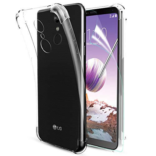 LG Stylo 4 Phone Case Clear,LG Stylo 4 Plus Case,LG Q Stylus Case,Clear Soft TPU W/[Screen Protector] Four-Corner Silicone Anti-Scratch Non-Slip Slim Shockproof Bumper Protective Phone Case,Clear