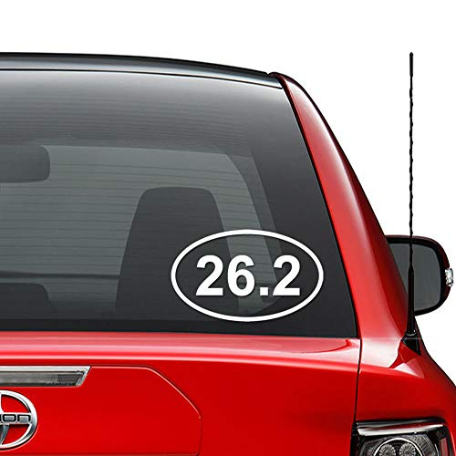 26.2 Miles Oval Marathon Runner Running Vinyl Decal Sticker Car Truck Vehicle Bumper Window Wall Decor Helmet Motorcycle and More - (Size 5 Inch / 13 cm Wide) / (Color Gloss Black)