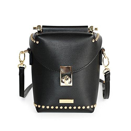 MAMONA Ladies Black Leather Crossbody bag Cross Shoulder Bag for Women LHB18502BK by MAMONA