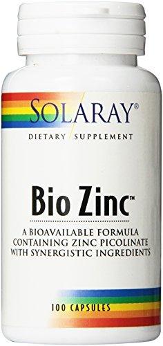 Bio 100 Zinc Capsules - Solaray Bio Zinc Supplement, 15mg, 100 Count by Solaray