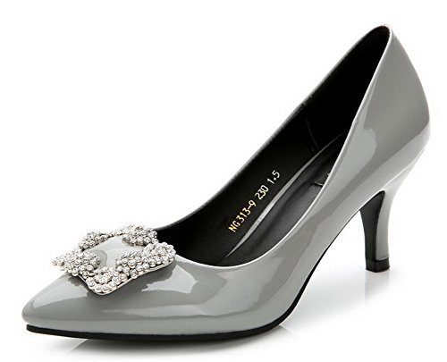 AalarDom Damen Rein Hoher Absatz Spitz Zehe Ziehen Auf Pumps Schuhe mit Wasser Diamanten Grau-Diamanten