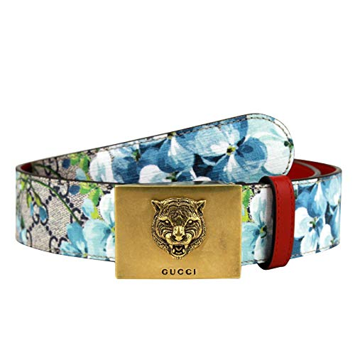Gucci Unisex Gold Tiger Blue GG Supreme Coated Canvas Bloom Print Belt Buckle 434559 8492 (80/32) - Gucci Coated Canvas