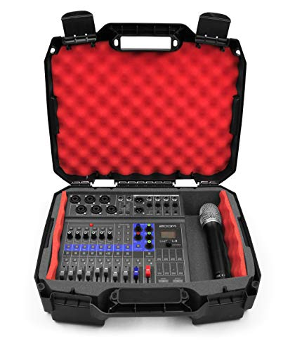 Casematix Studio Mixer Case Compatible with Zoom LiveTrak L-8 L8 Podcast Recorder, Mics, Microphone Cable and Accessories in Custom Shock Absorbing Red Foam – Case Only