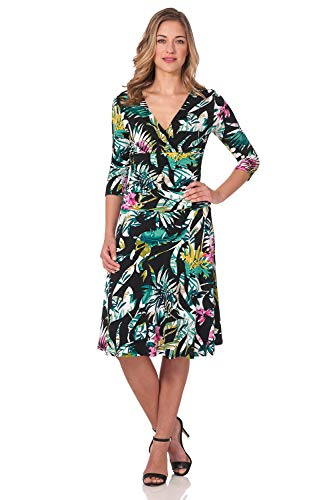 Rekucci Women's Slimming 3/4 Sleeve Fit-and-Flare Crossover Tummy Control Dress (12,Hot Tropic)