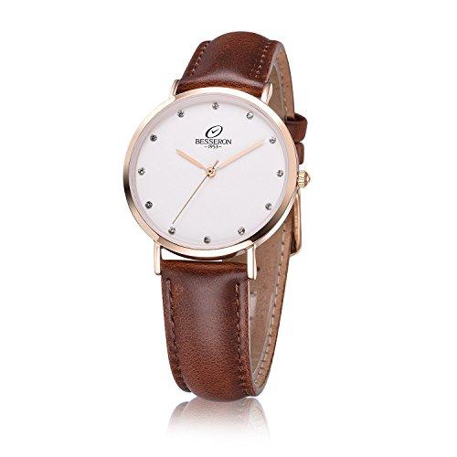 besseron Damen Luxus-Armbanduhr Quarz Gold Fall mit Braun Leatcher Gürtel