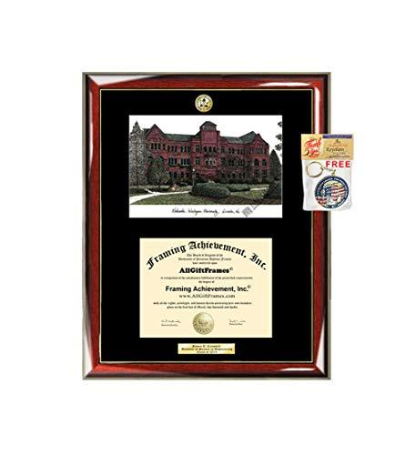 - Nebraska Wesleyan University Diploma Frame School Lithograph Major Logo NWU Degree Display Glossy Prestige Mahogany with Gold Accents Single Black Mat Graduation University Diploma Frame