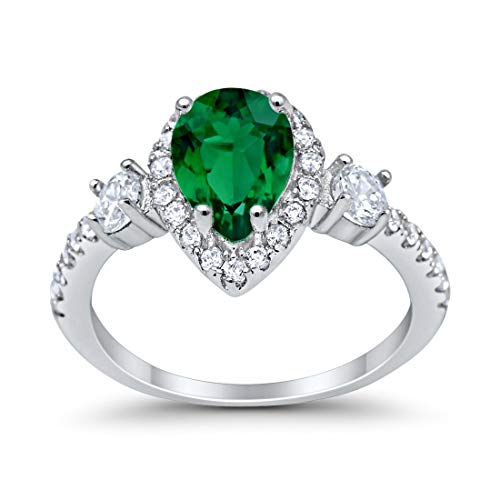 Blue Apple Co. 3-Stone Halo Teardrop Fashion Bridal Ring Pear Simulated Emerald Round Cubic Zirconia 925 Sterling Silver Sterling Silver, Size-6