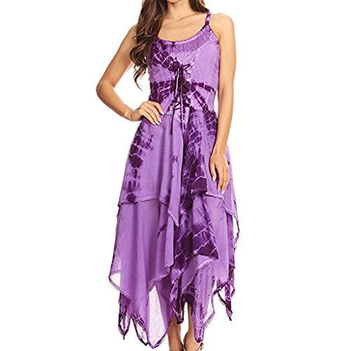 Mysky Women Popular Lovely Tie-Dyeing Corset Bodice Lace Up Off The Shoulder Sling Irregular Handkerchief Hem Dress Purple ()