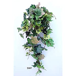 "32"" Frosted Green Grape Ivy Vine Hanging Bush with Grapes Greenery Filler Silk Wedding Flowers Plant Decor 75"