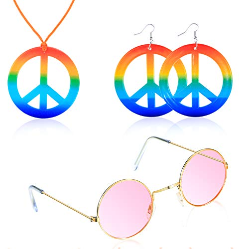 Tatuo Hippie Costume Accessory Set, Include Peace Sign Necklace, Peace Sign Earring, Hippie Glasses