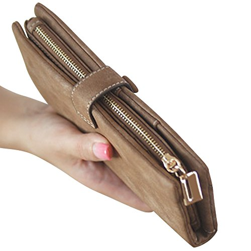Lady Leather Women's Handbag Clutch Fashion Long Button Purse Coffee Wocharm Wallet Ladies 1Xfx5H