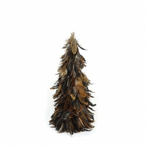 "ZUCKER Natural Rustic Feather Christmas Tree, 24"", Brown Farmhouse Autumn or Fall Decor"