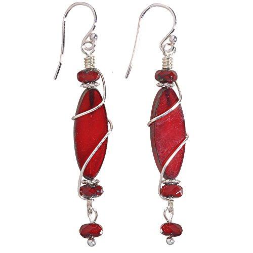 Rodanthe Earrings - Nickel Smart - Nickel Free Handcrafted Black Cherry Czech Glass Oval Earrings