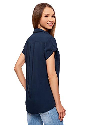 Poches en Blouse oodji 7900n Bleu Viscose avec Femme Poitrine Ultra qxUxOHY