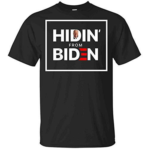Minetees Hiding from Biden for President 2020 Funny Political Tshirt (Unisex T-Shirt;Black;2XL)