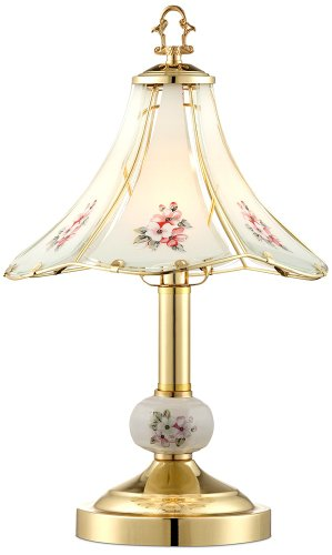 """Flower 16"""" High Polished Brass Touch On-Off Table Lamp"""