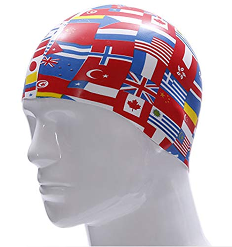 OMDD Silicone Long Hair Swim Cap,'Flag' Printed Silicone Swim Cap Adults Swim Cap Silicone Junior Swim Cap