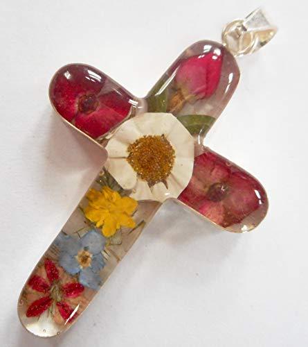 Silver 925 dried pressed flower cross pendant ()