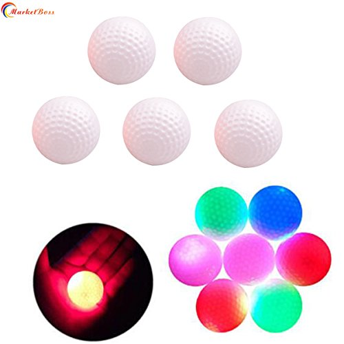 MarketBoss 5 PCS Electronic LED Flashing Light Up Golf Balls for Golf Practice Sports Night Golfing Tracer -