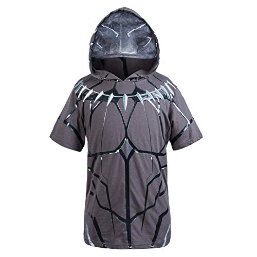 (Black Panther Marvel Hooded Shirt - Officially Licensed Marvel Boys Costume Style Hooded T-Shirt,Charcoal Black,Youth)