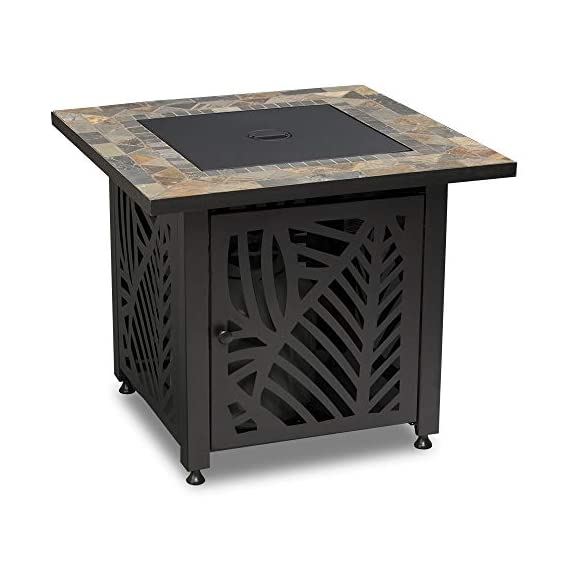 Endless Summer GAD15258SP LP Gas Outdoor Fire Table, Multi Color - Endless Summer Square LP Gas Fire Table with Stamped Steel Leaf Design Base 50,000 BTU Stainless Steel Burner with Integrated Ignition Slate Tile Mantel - patio, outdoor-decor, fire-pits-outdoor-fireplaces - 41QD9mkkBxL. SS570  -