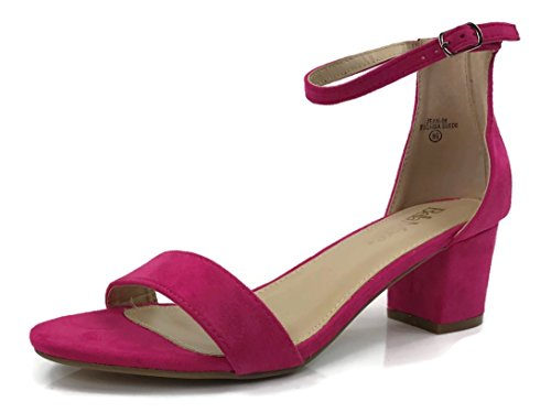 Bella Marie Classified Chunky Block Heel Dress Sandal Over Toe & Ankle Wrap Strap, Fuchsia Suede, - Fuchsia Suede Shoe