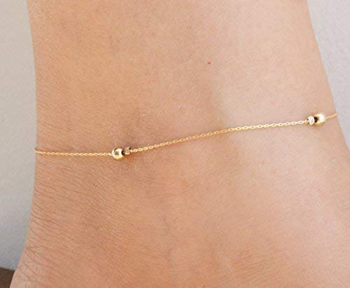 14k Gold Filled Dainty Anklet Minimalist Women Ankle Bracelet Foot Jewelry (Cut Anklet Jewelry)