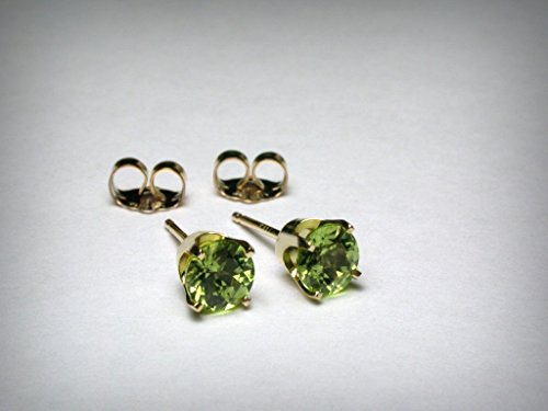 Genuine peridot stud earrings, in 14K yellow gold. AAA quality natural peridot from Arizona. -