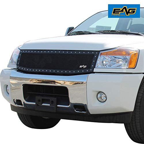 (EAG Rivet Stainless Steel Wire Mesh Grille Fit for 04-07 Nissan Titan)