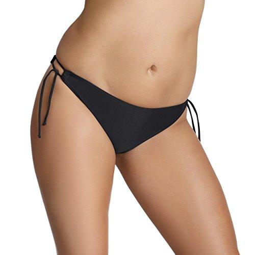 Aquarti Bikini-Hose Seitlich Gebunden Bikinislip Damen Bikini Slip Badeslip Schwarz Weiß Rot Blau, Farbe: Schwarz, Größe: 40