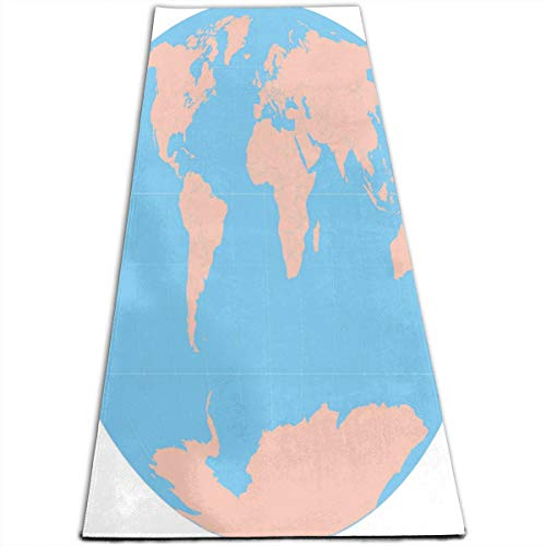 Yoga Mat WORLD MAPS PRINTABLE Stylish 1/4-Inch Thick Sports Mats For Pilates, Fitness & -