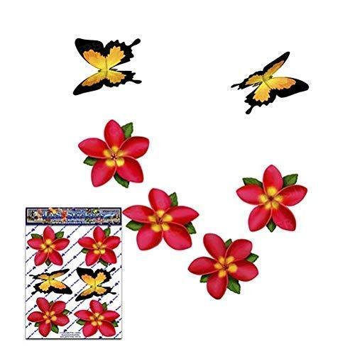Fiore singolo rosso Frangipani Plumeria Pack Adesivi Stickers auto - ST00041RD_SML - JAS Adesivi